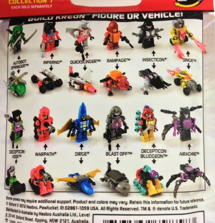 List Of Transformers >> Transformers Kre O Micro Changers Series 1 Code Numbers List