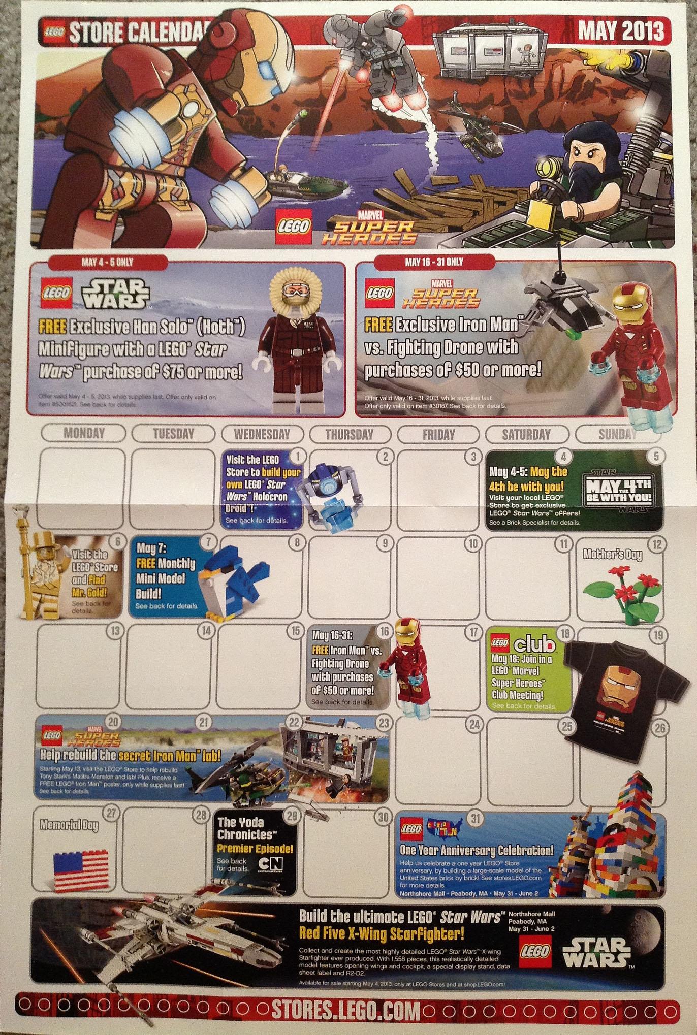 May 2013 Fashion Magazine Covers: May 2013 LEGO Store Calendar: Free Minifigure Promos