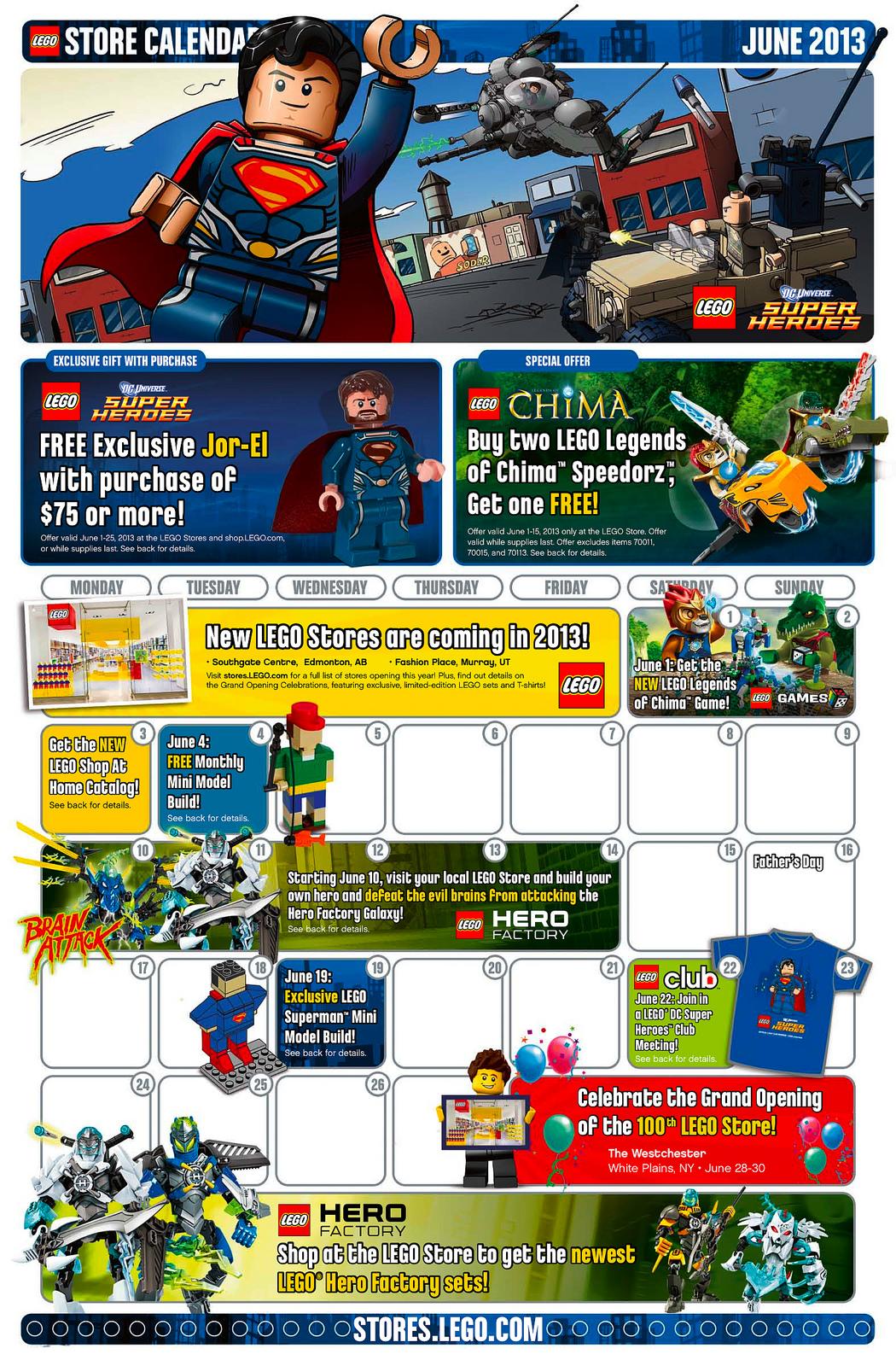 Calendar Lego June : June lego store calendar free jor el minifigure promo