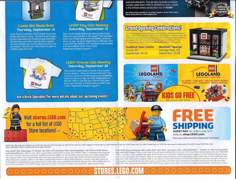 September 2013 LEGO Store Calendar Photos, Promos & Events ...