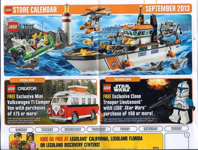 LEGO Store September 2013 Calendar Front Part 1
