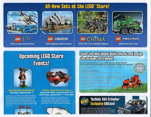 LEGO Stores September 2013 Calendar Back 1