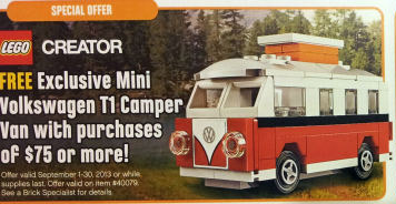 lego mini volkswagen t1 camper van 40079 free promo. Black Bedroom Furniture Sets. Home Design Ideas