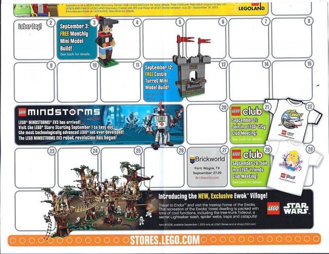 September 2013 LEGO Stores Calendar Front 2