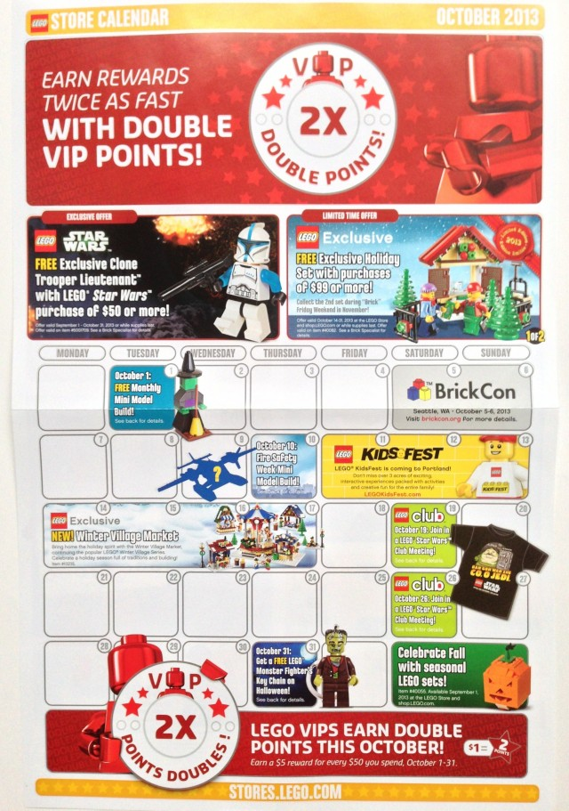 October 2013 LEGO Store Calendar
