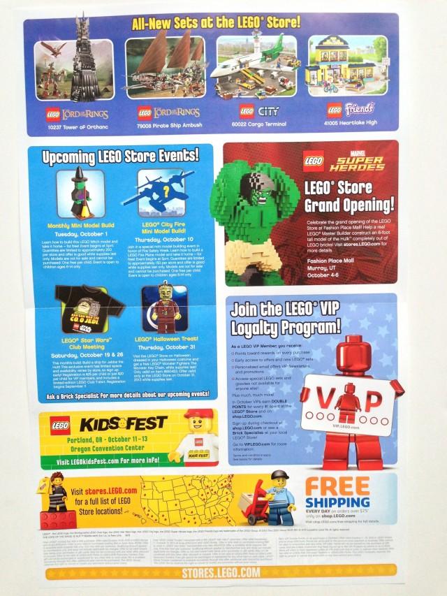 LEGO Store October 2013 Calendar Back