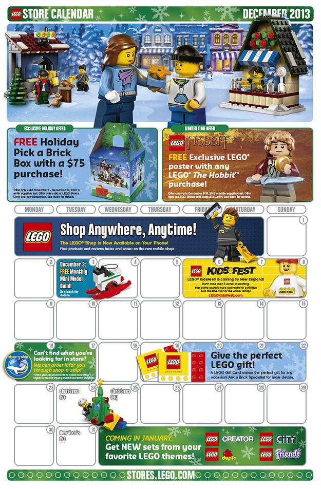 December 2013 LEGO Stores Calendar