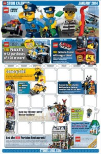 LEGO Store Calendar January 2014 Revealed Sales Deals Promos