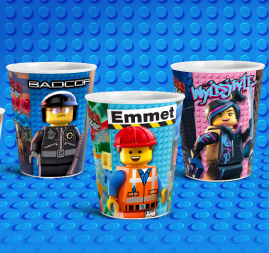 LEGO Movie McDonalds Happy Meal Cups Emmet Wyldsyde Bad Cop