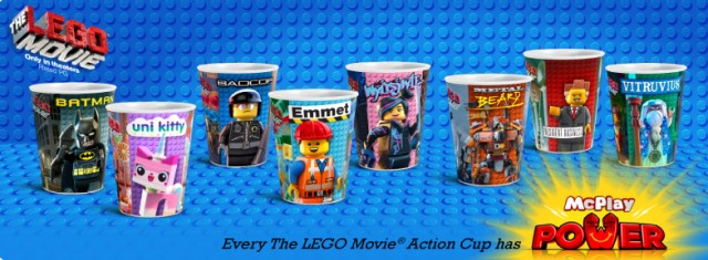 The LEGO Movie McDonalds Happy Meal Cups Toys Series