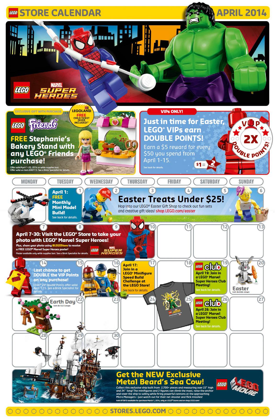 Calendar Lego June : Lego store april calendar promos sales events