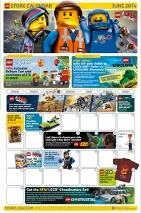 June 2014 LEGO Store Calendar Deals Promos Sales