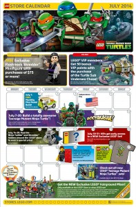 July 2014 LEGO Store Calendar