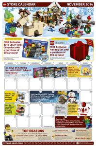November 2014 LEGO Stores Calendar
