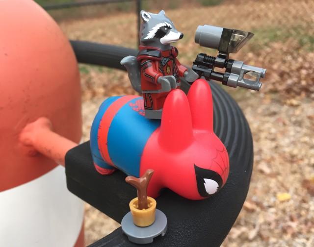 Rocket Raccoon Riding Spider-Pig Figure