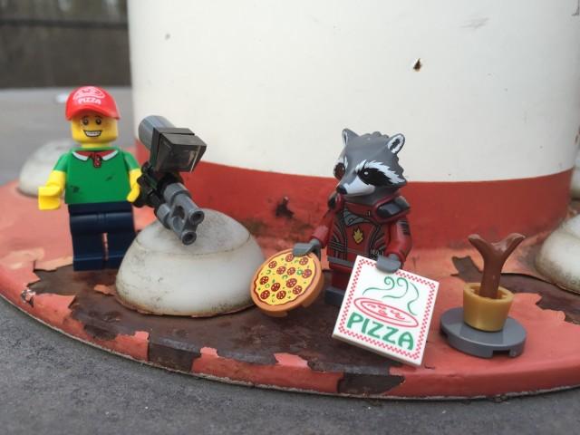 Rocket Raccoon LEGO Minifigure Trades Gun for a Pizza