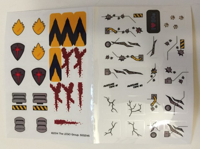 LEGO Guardians of the Galaxy Milano Stickers from Rocket Raccoon Polybag