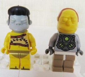 LEGO Simpsons Minifigures Comic Book Guy and Snake Head Prototypes