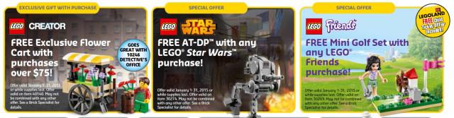 LEGO Store Free Promo Sets January 2015
