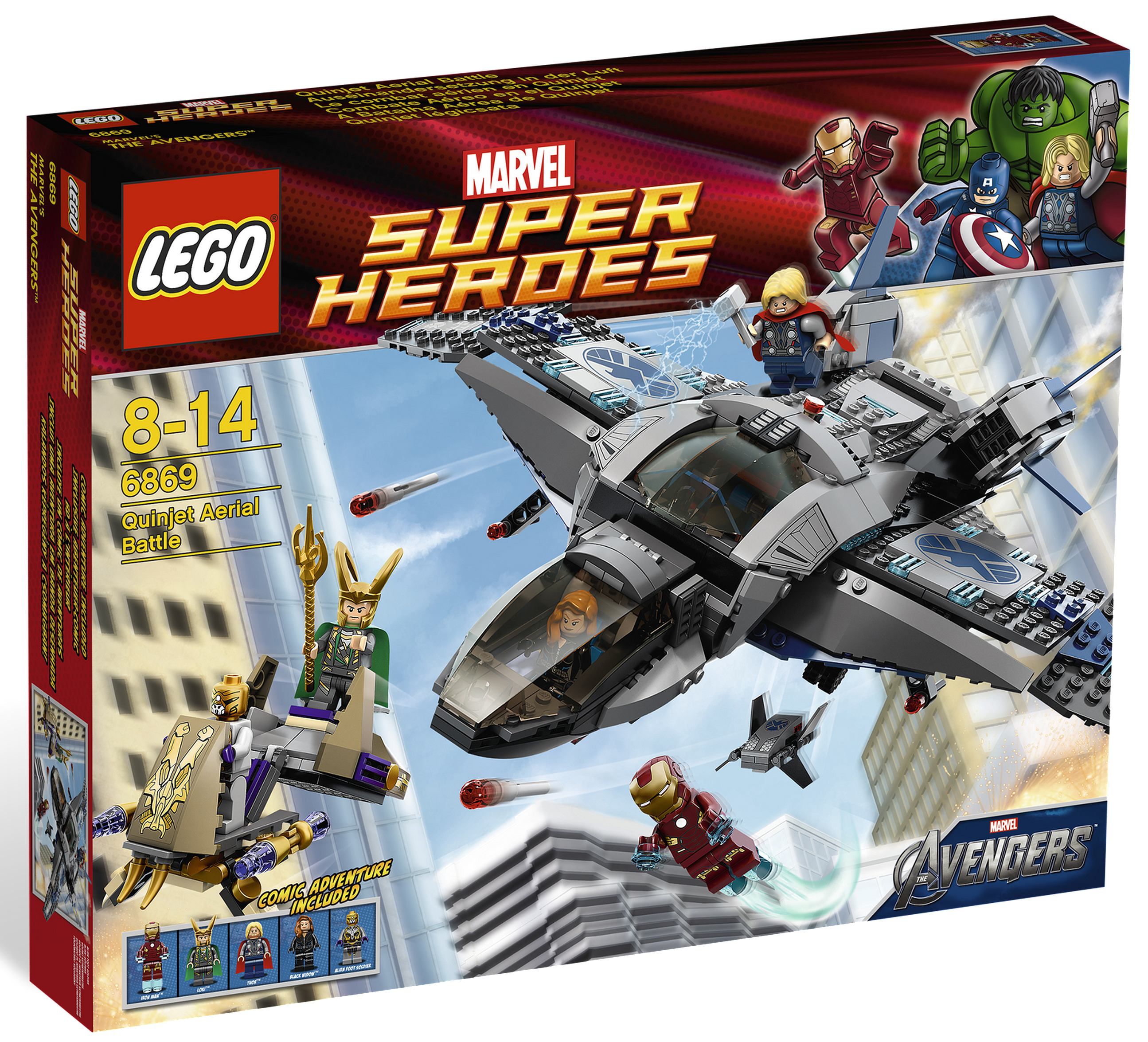 Quinjet Aerial Battle Item №: Defeat Loki and his forces with the super fast Quinjet! LEGO Marvel Super Heroes Minifigures: Alien Foot Soldier, Black Widow, Iron Man (Mark VII), Loki, Thor.