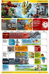 March 2015 LEGO Store Calendar