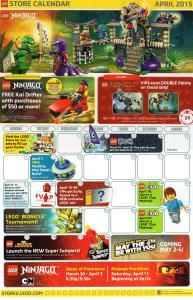 LEGO Store April 2015 Calendar Front