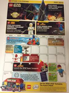 May 2015 LEGO Store Calendar LEGO Star Wars May the 4th 2015
