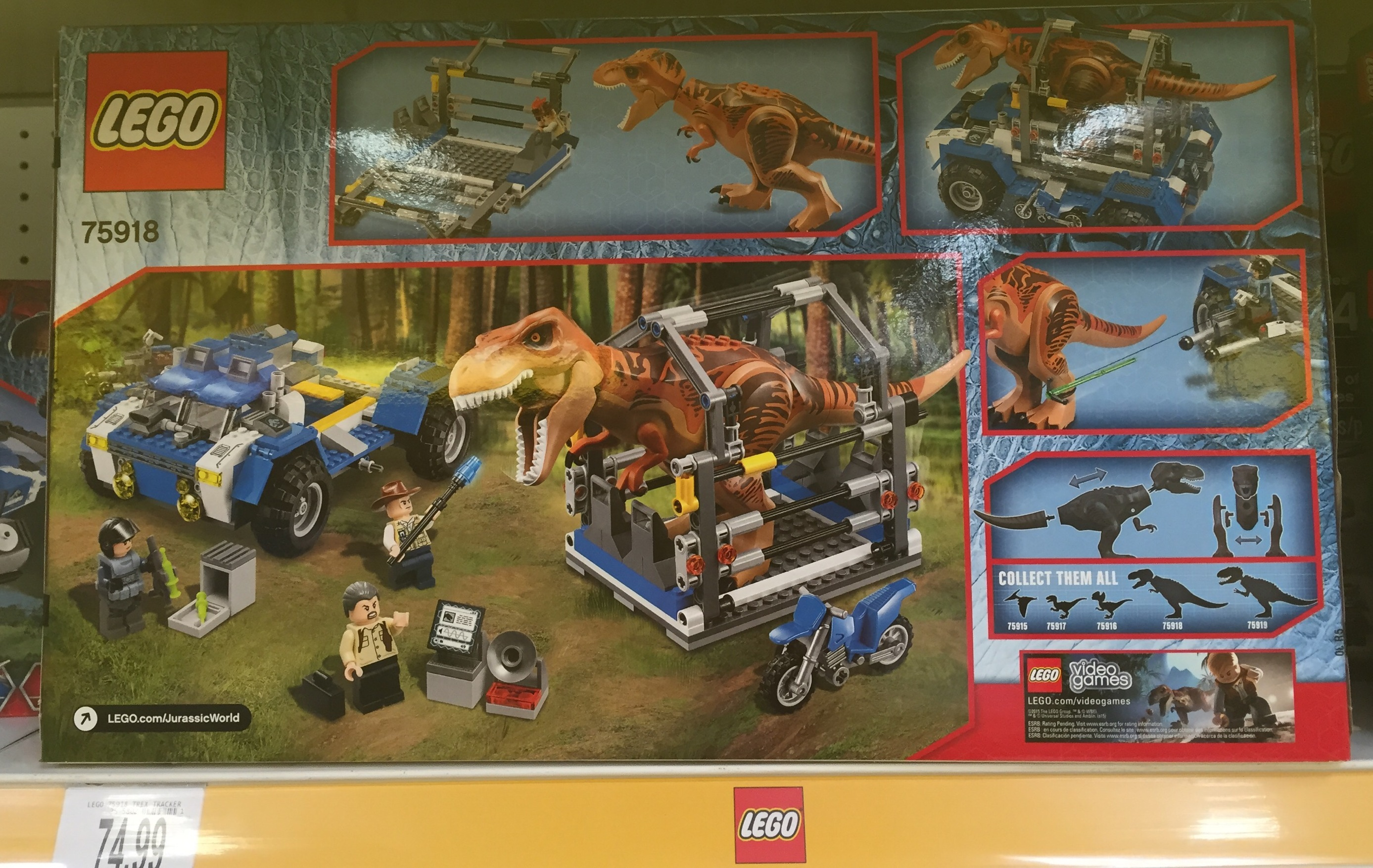 Awesome LEGO Jurassic World T Rex Tracker Box Back