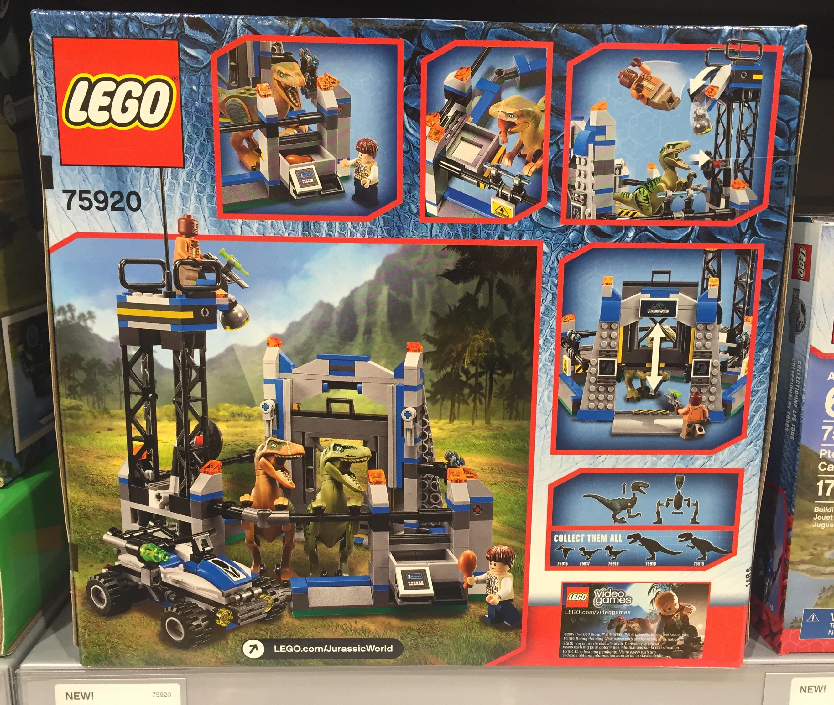 75920 Raptor Escape LEGO Jurassic World Set Box Back