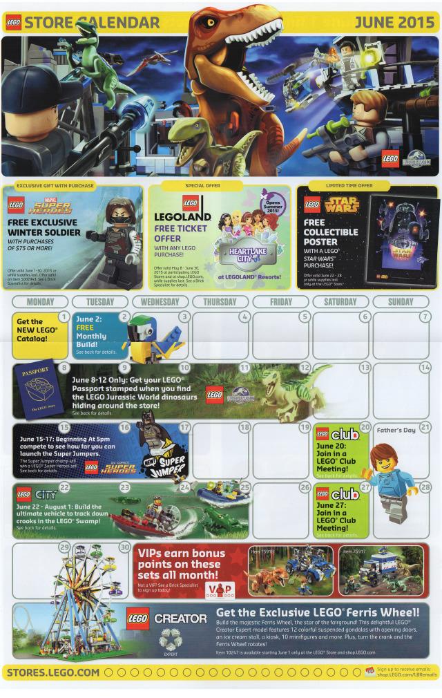 June 2015 LEGO Store Calendar Front