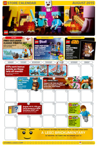 August 2015 LEGO Store Calendar