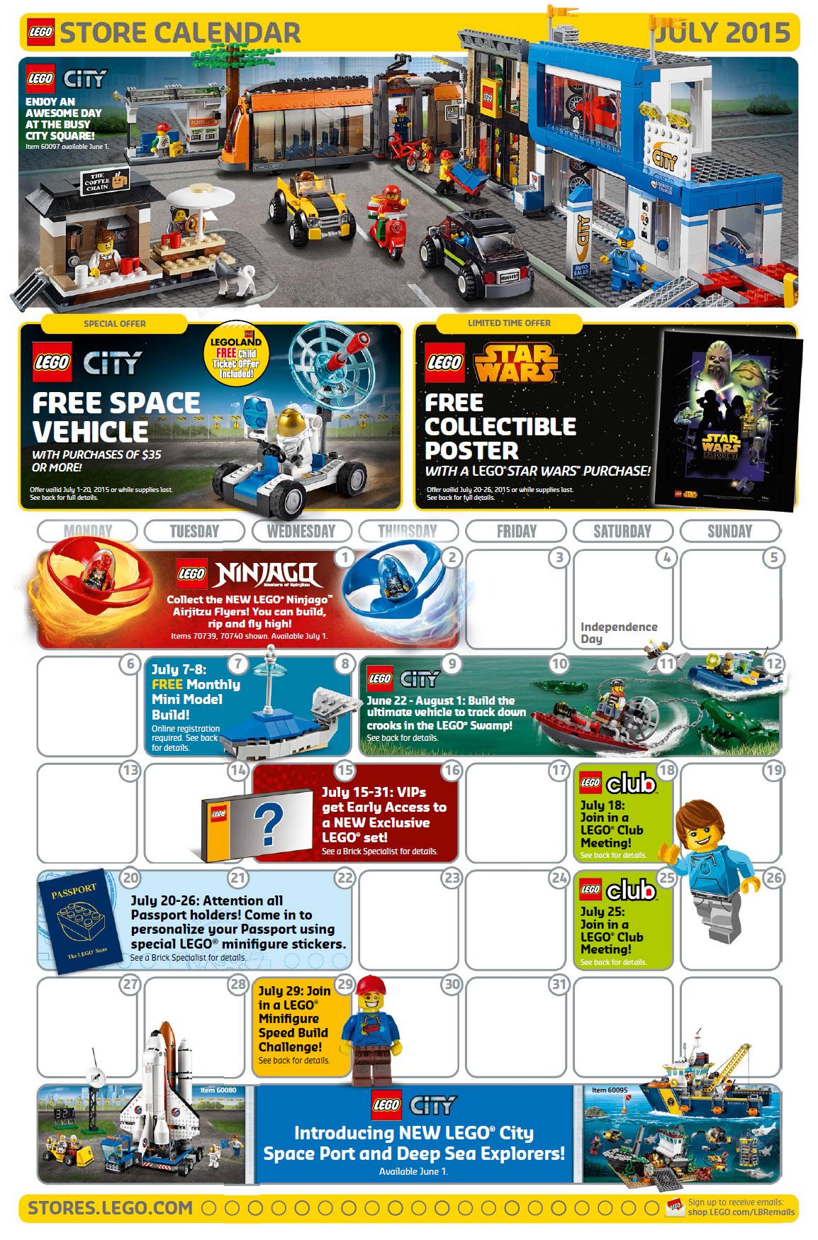 Calendar Lego June : July lego store calendar free promos events