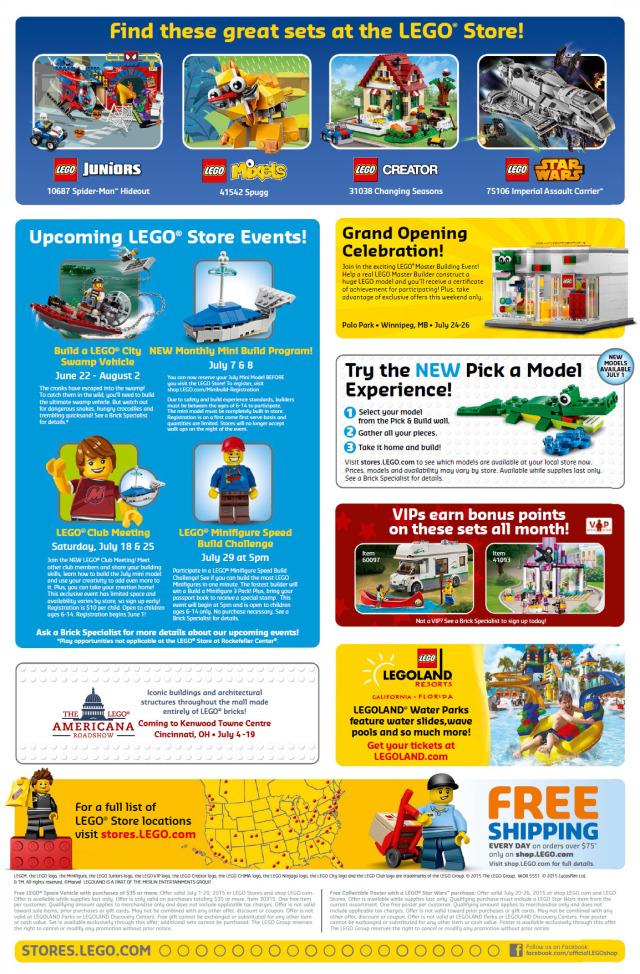 LEGO Store July 2015 Calendar Back