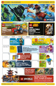 September 2015 LEGO Store Calendar