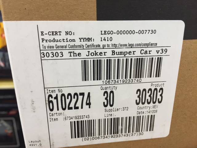 30303 The Joker Bumper Car LEGO Set Case Toys R Us
