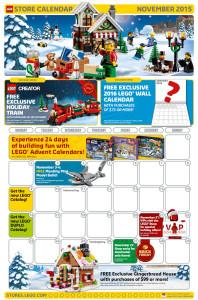 November 2015 LEGO Store Calendar