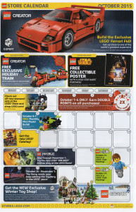 October 2015 LEGO Store Calendar Front