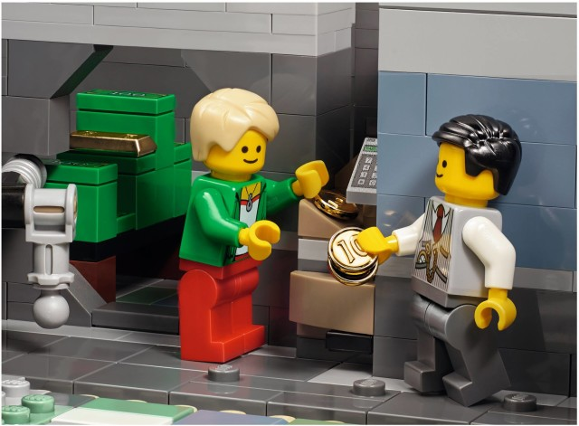 Depositing Gold Coins at the LEGO 10251 Brick Bank Modular Building Set