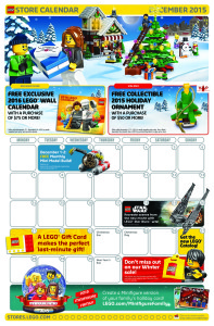 December 2015 LEGO Store Calendar