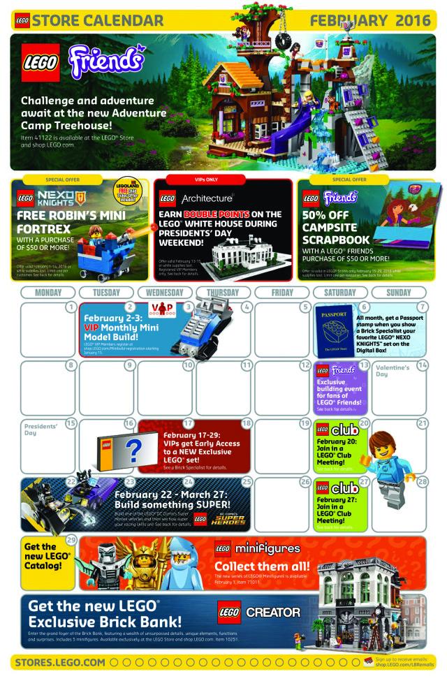 February 2016 LEGO Store Calendar Front