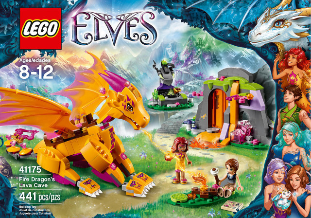 LEGO Elves 2016 Fire Dragon's Lava Cave 41175 Box