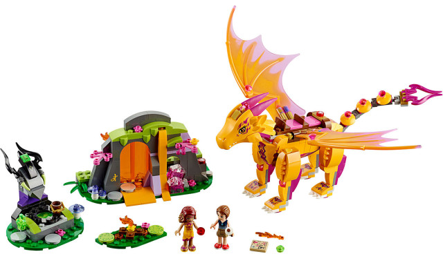 LEGO Elves Fire Dragon's Lava Cave 41175 Set Contents