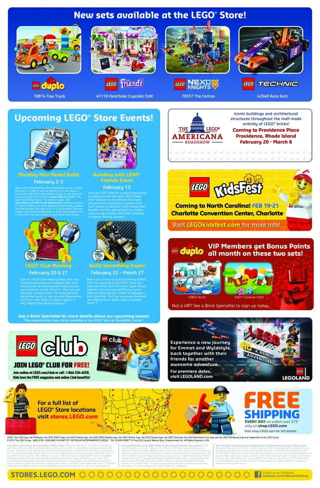 LEGO Stores February 2016 Calendar Back